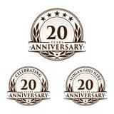 20 do aniversário anos de molde do projeto Vetor e ilustração do aniversário 20o logotipo ilustração royalty free