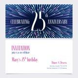 25 do aniversário do convite anos de ilustração do vetor, elemento do projeto ilustração stock