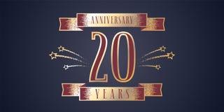 20 do aniversário da celebração anos de ícone do vetor, logotipo Fotos de Stock