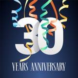 30 do aniversário da celebração anos de ícone do vetor, logotipo Imagens de Stock Royalty Free