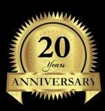 20 do aniversário do ouro do selo do logotipo anos de projeto do vetor ilustração stock