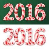 Do ano novo bastão 2016 de doces ilustração do vetor