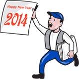 Do ano novo menino 2014 de jornal que mostra desenhos animados do sinal Fotografia de Stock