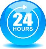 24 do apoio da Web horas de azul do botão ilustração royalty free