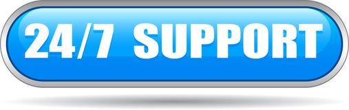 24 do apoio da Web horas de azul do botão ilustração do vetor