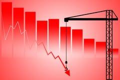 Do apoio diminuições do mercado de valores de ação para baixo Foto de Stock