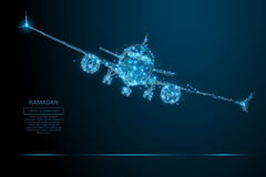 Do avião de passageiros azul poli baixo ilustração do vetor