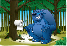Do Bears S**t in the woods?. A comical look at the old adage about where or not bears do in fact, in the woods. Complete with toilet paper. Bear is on separate Stock Photography