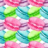 Do bolinho de amêndoa doce da baga do fruto de sobremesa da aquarela textura sem emenda do fundo do teste padrão Foto de Stock Royalty Free