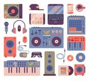 Do breakdance acessório dos instrumentos do músico do hip-hop ou do DJ ícones expressivos do vetor do disco-jóquei do música rap ilustração royalty free
