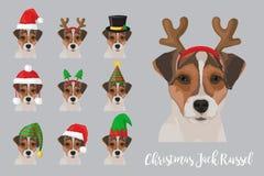 Do cão festivo de Russel do jaque do Natal chapéus vestindo da celebração Fotos de Stock Royalty Free