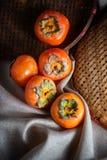 Do caqui do fruto fotografia da vida ainda foto de stock royalty free