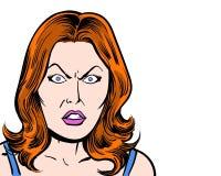 Do caráter cômico do pop art do ruivo fundo irritado e branco Imagem de Stock Royalty Free