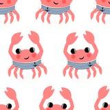 Do caranguejo engraçado do marinheiro dos desenhos animados teste padrão sem emenda Imagem de Stock Royalty Free
