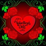 Do cartão com cor-de-rosa e coração ilustração royalty free