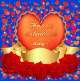 Do cartão com a fita cor-de-rosa e do coração ilustração do vetor