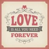 Do casamento do amor projeto do fundo do cartão do vintage da tipografia para sempre Imagem de Stock Royalty Free