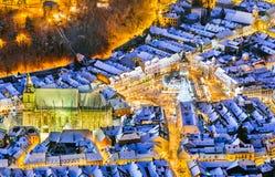 do centrum miasta brasov stary Romania Arial widok stary miasteczko podczas bożych narodzeń Fotografia Royalty Free