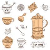 Do chá do tempo grupo da vida ainda, esboço, garatuja, tração da mão Foto de Stock Royalty Free