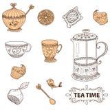 Do chá do tempo grupo da vida ainda, esboço, garatuja, tração da mão Imagens de Stock Royalty Free
