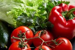 Do close up vida orgânica ainda de legumes frescos sortidos e de ervas no fundo de madeira rústico, topview, foco seletivo Fotos de Stock Royalty Free
