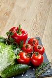 Do close up vida orgânica ainda de legumes frescos sortidos e de ervas no fundo de madeira rústico, topview, foco seletivo Fotografia de Stock Royalty Free