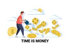 Do comprimento completo masculino do personagem de banda desenhada do conceito da riqueza do crescimento vegetal do dólar do home ilustração royalty free