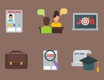 Do conceito ajustado do escritório do computador do ícone da procura de emprego do vetor gerente humano da reunião do trabalho do Fotos de Stock