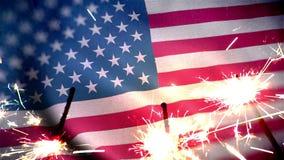 4 do conceito do Dia da Independência de julho com chuveirinho e bandeira dos EUA ilustração royalty free