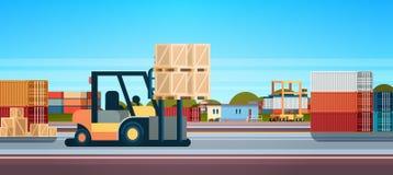Do conceito internacional da entrega do armazém do equipamento do caminhão do empilhador da pálete do carregador da empilhadeira  ilustração do vetor