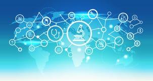 Do conceito médico futurista da conexão de rede dos cuidados médicos da relação do ícone do microscópio do mapa do mundo fundo az ilustração stock