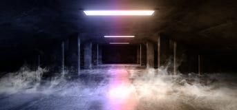 Do corredor concreto escuro moderno do túnel da garagem de Asphalt Futuristic Spaceship Elegant Underground do cimento de Sci Fi  ilustração do vetor