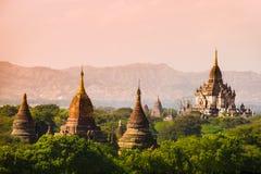 Do curso claro bagan de Burma dos templos de Myanmar reino pagão fotos de stock