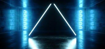 Do Cyber vibrante azul da realidade virtual do néon reflexão vazia escura de incandescência dada forma triângulo Hall Room Stage  ilustração royalty free