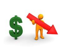 Do dólar conceito para baixo Imagens de Stock Royalty Free