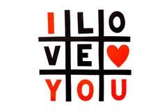` Do ` da frase eu te amo na superfície branca simples do fundo Imagem de Stock