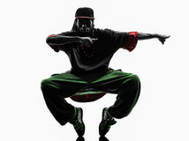 Do dançarino acrobático da ruptura do hip-hop jovens breakdancing imagem de stock
