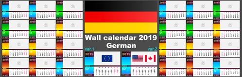 do deutsche calendário 2019 de parede alemão Dois moldes do ISO 8601 para Europa e EUA Canadá com numeração da semana Vetor ilustração stock