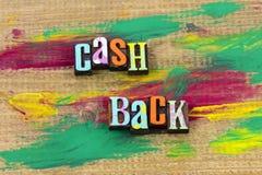 Do dinheiro citações da tipografia do negócio de desconto do desconto do reembolso para trás foto de stock