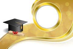 Do diploma bege abstrato do tampão da graduação da educação do fundo ilustração vermelha do quadro do círculo do ouro da curva ilustração do vetor