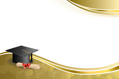Do diploma bege abstrato do tampão da graduação da educação do fundo ilustração vermelha do quadro do ouro da curva Imagens de Stock Royalty Free