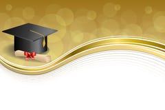 Do diploma bege abstrato do tampão da graduação da educação do fundo ilustração vermelha do quadro do ouro da curva