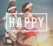 Do divertimento feliz do prazer da felicidade conceito alegre imagem de stock