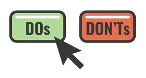 Do and Don`t or Good and Bad Icons w Positive and Negative Symbols. Do`s and Don`t or Good and Bad Icons with Positive and Negative Symbols royalty free illustration