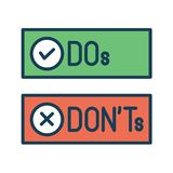 Do and Don`t or Good and Bad Icons w Positive and Negative Symbols. Do`s and Don`t or Good and Bad Icons with Positive and Negative Symbols vector illustration