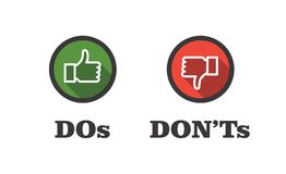Do and Don`t or Like and Unlike Icons w Positive and Negative Sy. Do and Don`t or Like & Unlike Icons with Positive and Negative Symbols Royalty Free Stock Photos