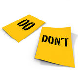 Do and don't text on note Royalty Free Stock Images
