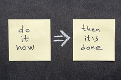 Do and done. Do it now then it's done rule handwritten on sticky notes royalty free stock photos