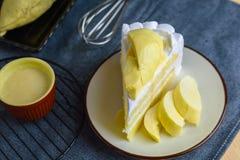 Do durian fresco doce delicioso da sobremesa do close up fruto tailandês com whi Foto de Stock
