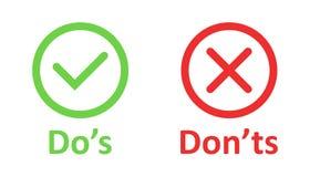 Do e don 'ts assina o ícone no estilo liso Como, ilustração desigual do vetor no fundo isolado branco Sim, nenhum conceito do neg ilustração stock